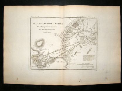 Barthelemy 1790 Antique Map Environs of Athens, Greece | Albion Prints